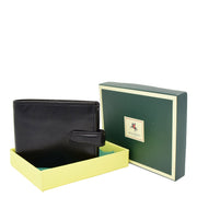Mens Genuine Italian Leather Snap Closure Wallet AVZ5 Black With Box