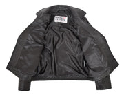 Girls Kids Black Biker Real Leather Jacket Zip Fasten Coat 2-12 Years