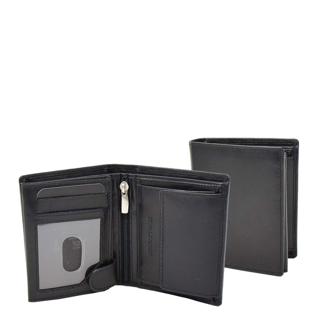 Mens Soft Leather Small Wallet Bifold Purse AL03 Black