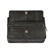 Real Leather Wrist Bag Clutch Travel Organiser Black A210 Flap Open