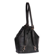 Womens Genuine Black Leather Backpack Walking Bag A57 Back Angle