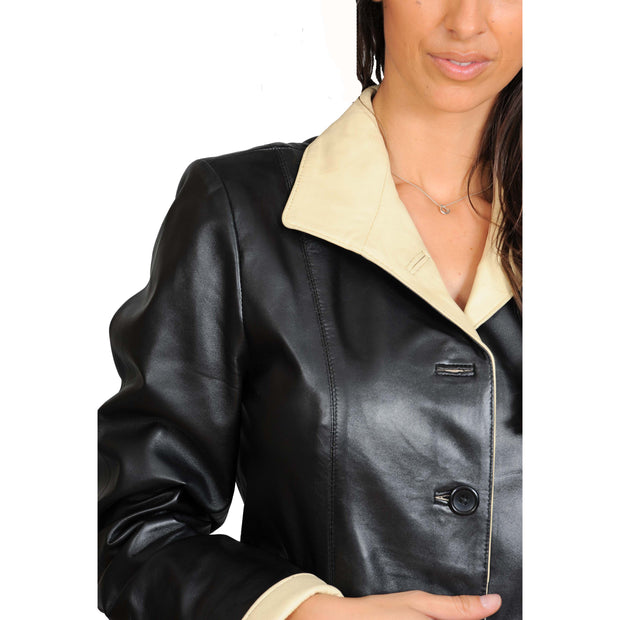 Womens Soft Leather Blazer Hip Length Beige Trim Jacket Maggie Black Feature