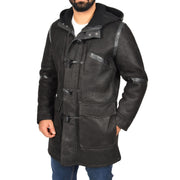 Mens Genuine Sheepskin Duffle Coat 3/4 Long Hooded Jacket Ace Black Front 1
