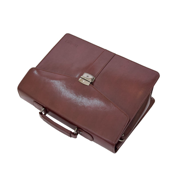Brown Leather Briefcase For Mens Laptop Business Organiser Shoulder Bag Alvin Top Letdown