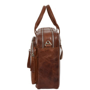Pure Leather Briefcase Laptop Satchel Office Business Bag Otis Cognac Side