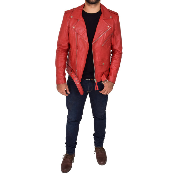 Mens Brando Biker Leather Jacket Elvis Red feat 1