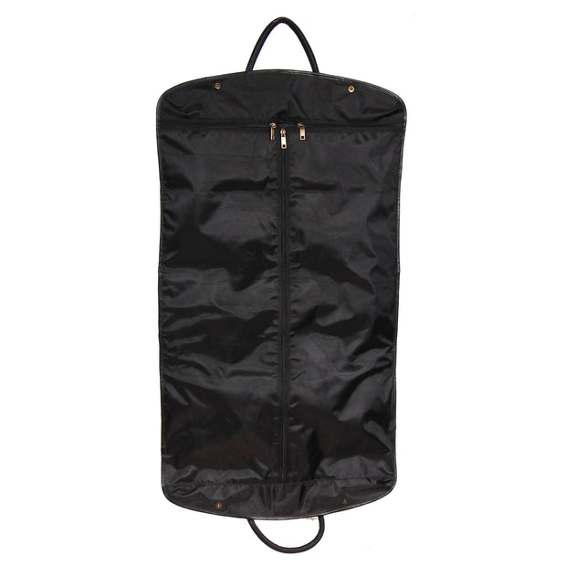 Genuine Soft Leather Suit Carrier Dress Garment Bag A173 Black Back Open