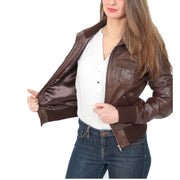 Womens Slim Fit Bomber Leather Jacket Cameron Brown Lining
