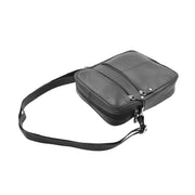 Mens Real Leather Shoulder Bag Cross Body Flight Pouch A155 Black Letdown