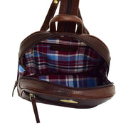 Womens Backpack Brown LEATHER Rucksack Organiser Bag Harper Open