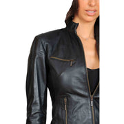 Womens Fitted Leather Biker Jacket Casual Zip Up Coat Jenny Black Feature 1