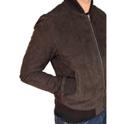 Mens Soft Goat Suede Bomber Varsity Baseball Jacket Blur Brown Feature