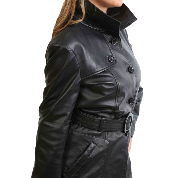 Womens Real Leather Hip Length Trench Parka Coat Alba Black Feature 2
