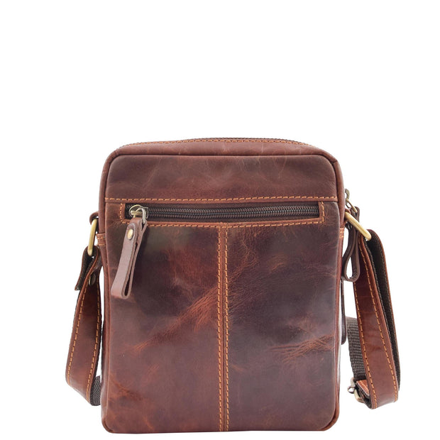 Mens Brown Leather Cross Body Flight Bag Multi Zip Pockets Pouch Cooper Back