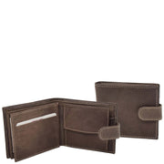 Mens Leather Bifold Wallet Cards Banknote Coins Case Snap Closure AV67 Brown