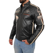Mens BLACK Leather Biker Jacket Slim Fit Motor Sports Badges Coat Wayne Front Side