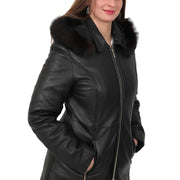 Womens Quilted 3/4 Long Parka Leather Coat with Hood Kelly Black Feature 1
