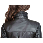 Womens 3/4 Long Zip Fasten Leather Jacket Carol Black back feature