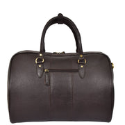 Genuine Leather Holdall Weekend Cabin Duffle Bag A21 Brown Back