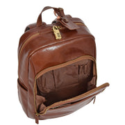 Womens Backpack Chestnut Real Leather Large Travel Rucksack Cora Front Open