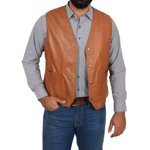 Mens Soft Leather Waistcoat Classic Gilet Bruno Tan open button 1