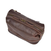Vintage Leather Brown Toiletry Shaving Kit Cosmetic Travel Wash Bag Austin Top