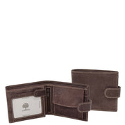Mens Real Leather Bifold Clip Closure Wallet AV86 Brown