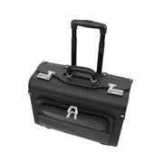 Wheeled Pilot Case Black Faux Leather Briefcase Business Rep Cabin Bag Dallas Top