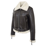 Womens Luxurious Brown Genuine Sheepskin Flying Jacket White Shearling Harriet front 2