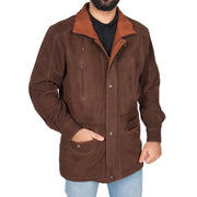 Gents Nubuck Leather Parka Coat Henry Brown main view