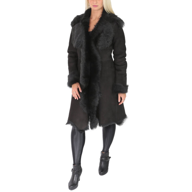 Womens Luxurious Toscana Long Coat Real Sheepskin Pamela Black Full