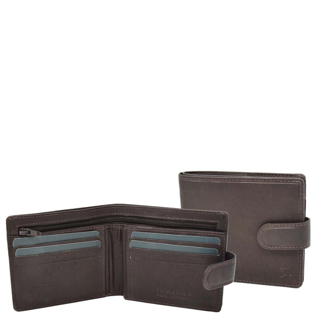 Mens Top Quality Soft Leather Snap Closure Bifold Slim Wallet AL05 Brown