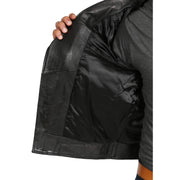 Mens Black Leather Biker Jacket X-Zip Fasten Trendy Designer Coat Max Lining