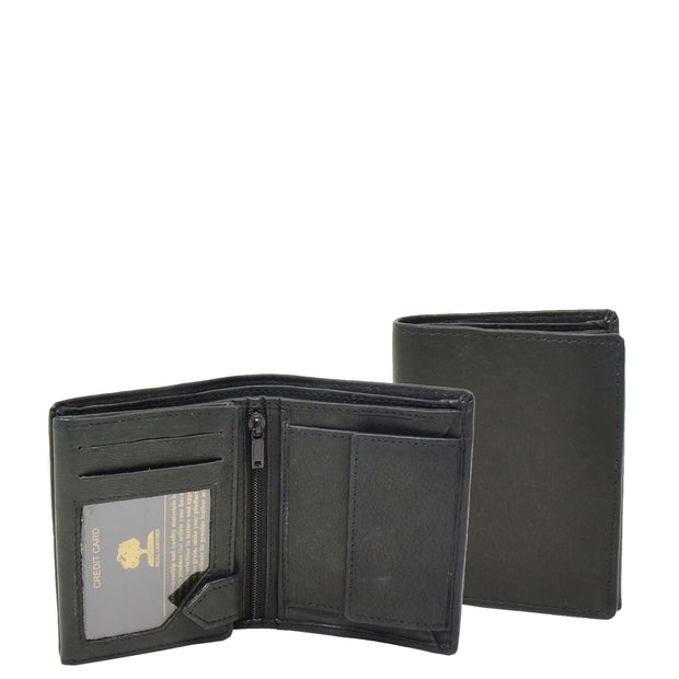 Mens Real Leather Bifold Wallet Credit Cards Coins Note Holder AV61 Black