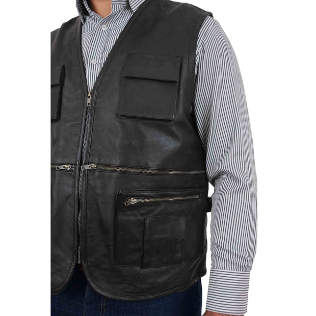Mens Real Black Soft Leather Fisherman Waistcoat Multi Pockets Gilet Curt Feature