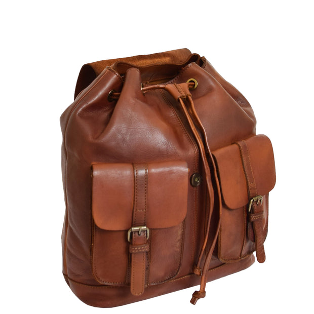 Genuine Vintage Rust Leather Backpack Large Organiser Rucksack AB99 Front Without Flap