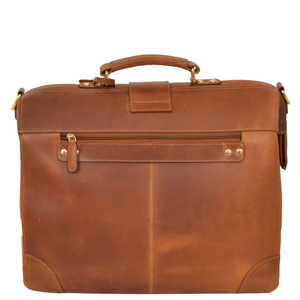 Genuine Leather Doctors Briefcase Gladstone Bag Duke Tan Back