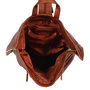 Womens Luxury Leather Backpack Hiking Rucksack Organiser Bag A58 Brown Top Open