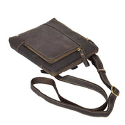 Real Leather Cross Body Vintage Distressed Look Messenger Flight Bag A650 Brown Letdown