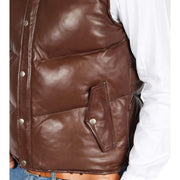 Mens Quilted Leather Waistcoat Body Warmer Gilet Jeff Brown Feature