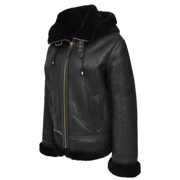 Womens Real Black Sheepskin Jacket Hooded Shearling B3 Pilot Coat Maria Front Angle 2