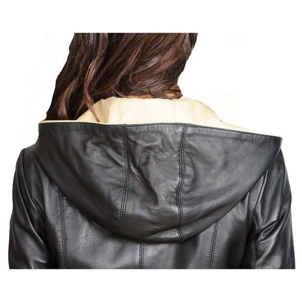 Womens Real Leather Blazer Jacket Mid Length Hooded Coat Eva Black Back Feature