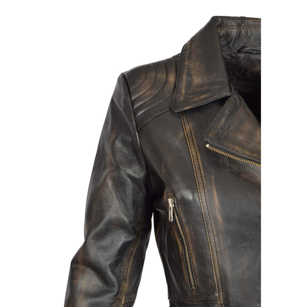 Womens Biker Leather Jacket Slim Fit Cut Hip Length Coat Coco Rub Off Feature 2