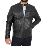Trendy Genuine Soft Leather Biker Zipper Jacket For Men Rider Black Front 2