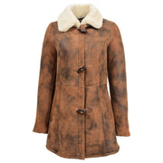 Womens Real Sheepskin Duffle Coat Hooded Shearling Jacket Armas Cognac Front Without Hood