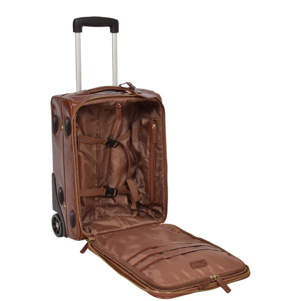 Exclusive Leather Trolley Hand Luggage Cabin Suitcase Concorde Chestnut Open 2