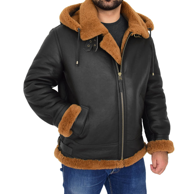 Mens Real Sheepskin Flying Jacket Hooded Brown Ginger Shearling Coat Hawker Front With Hood