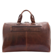 Genuine Leather Holdall Weekend Gym Business Travel Duffle Bag Ohio Brown Back