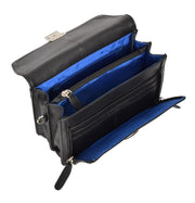 Real Leather Wrist Pouch Organiser Clutch Bag A853  Black Open
