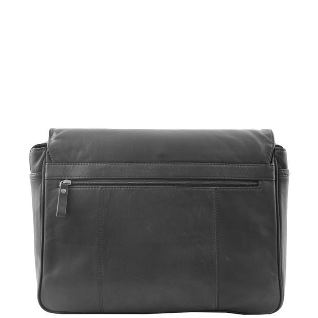 Mens Messenger Bag Real Leather Flight Shoulder Organiser Carl Black Back
